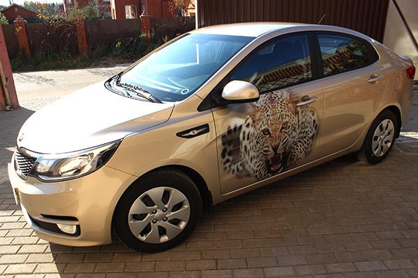 Тигрица и пантера на дверях автомобиля