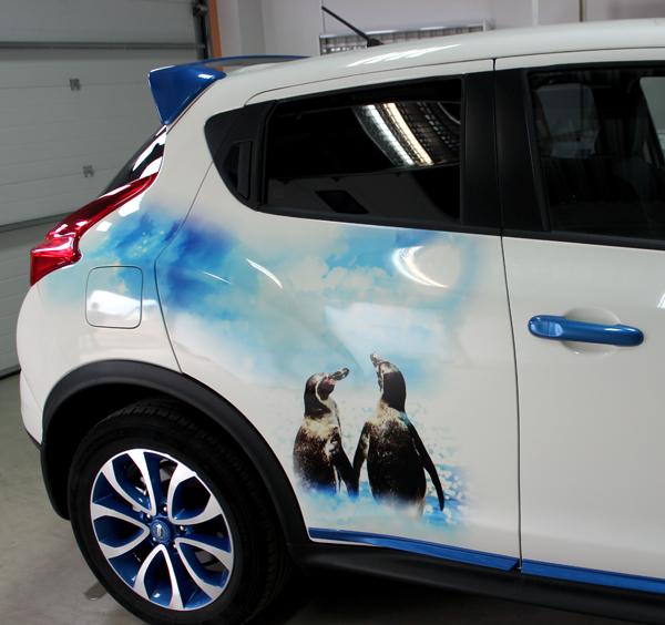 Пингвины на белом автомобиле